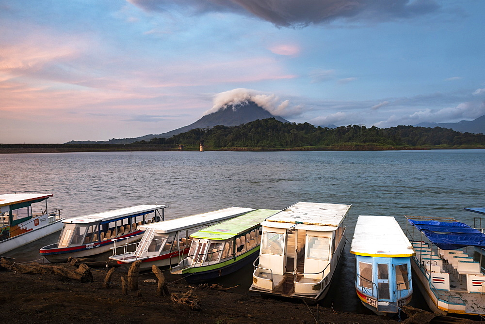 Arenal Volcano and Arenal Lake at sunset, near La Fortuna, Alajuela Province, Costa Rica, Central America
