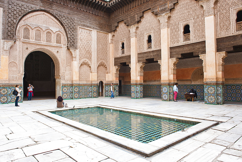 Tourists visiting Medersa Ben Youssef, the old Islamic school, Old Medina, Marrakech, Morocco, North Africa, Africa