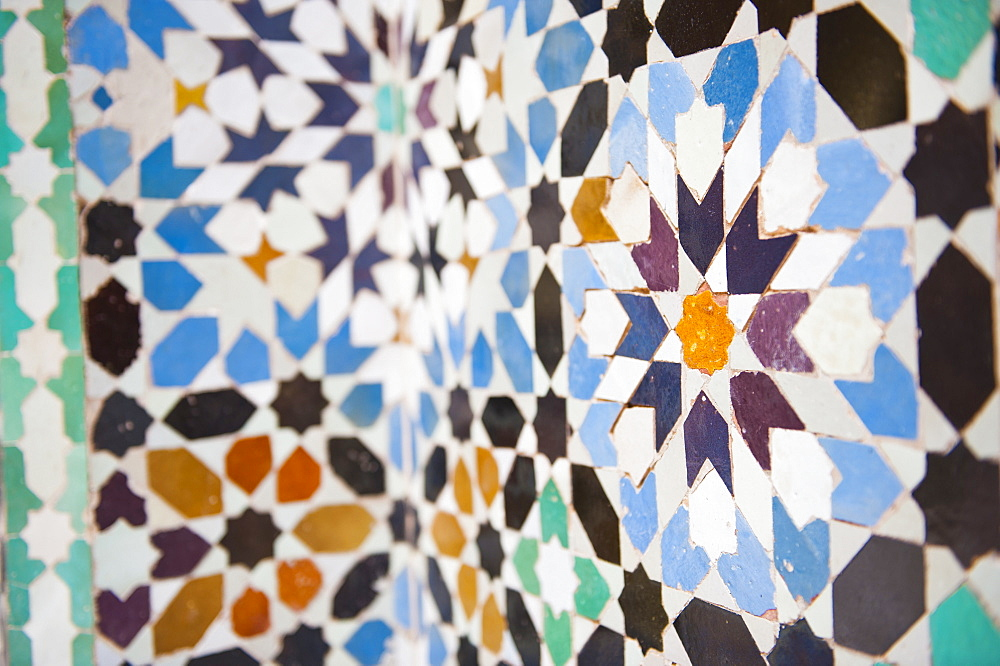 Colourful mosaic at Medersa Ben Youssef, the old Islamic school, Old Medina, Marrakech, Morocco, North Africa, Africa