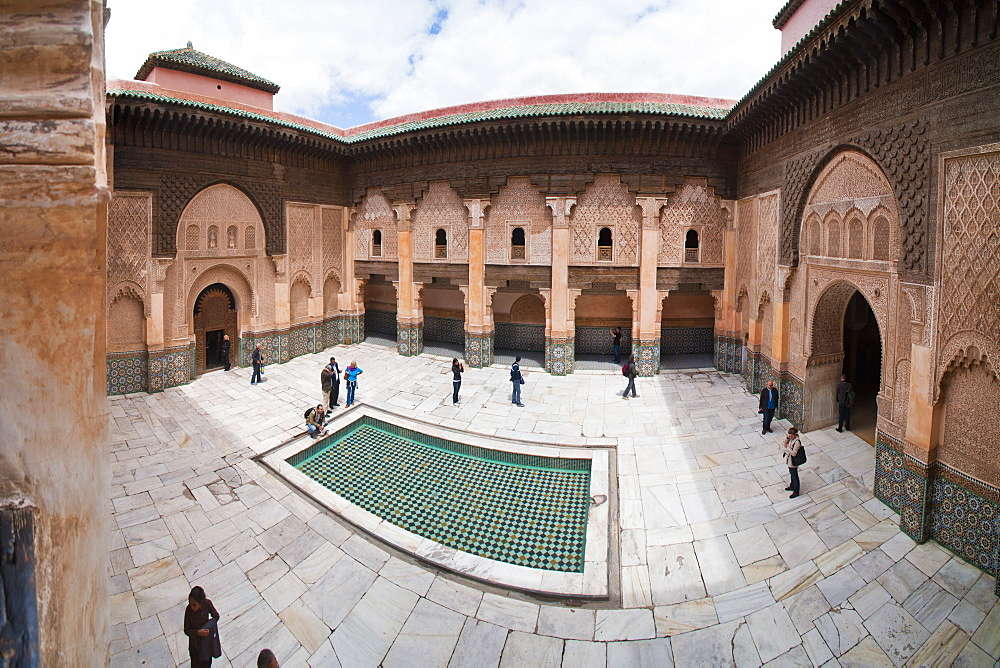 Tourists visiting Medersa Ben Youssef, the old Islamic Koranic school, Old Medina, Marrakech, Morocco, North Africa, Africa