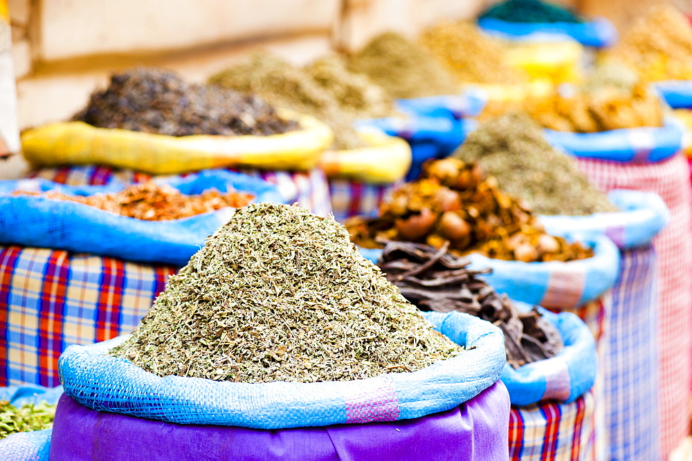 Colourful spices in the souks just off Djemaa El Fna, Marrakech, Morocco, North Africa, Africa