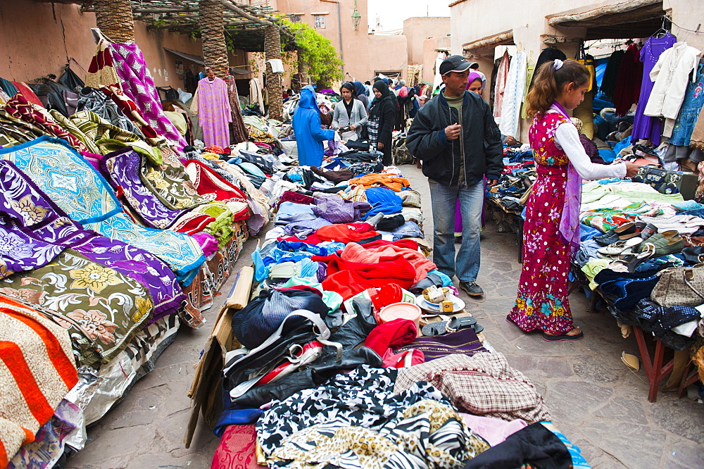 Clothes stalls in the souks of the old Medina of Marrakech, Morocco, North Africa, Africa