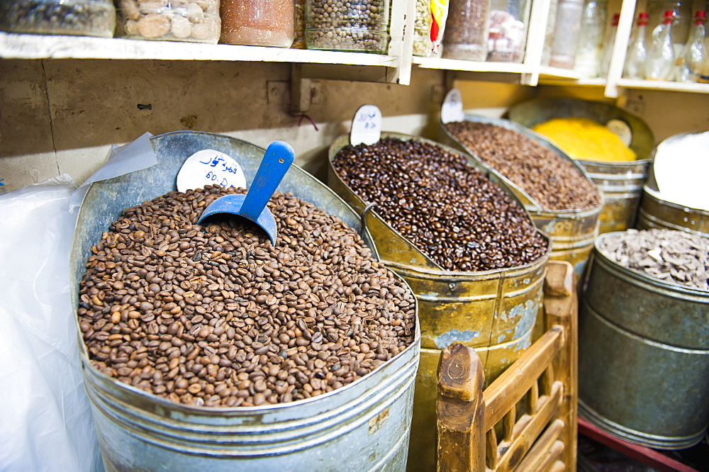 Coffee beans for sale in the souks of Marrakech, Morocco, North Africa, Africa