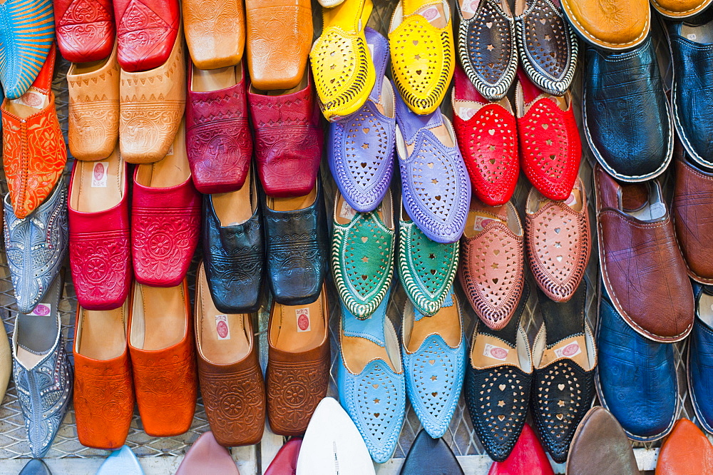 Colourful babouche (mens leather slippers) for sale in the Marrakech souks, Place Djemaa El Fna, Marrakech, Morocco, North Africa, Africa  - 1109-435