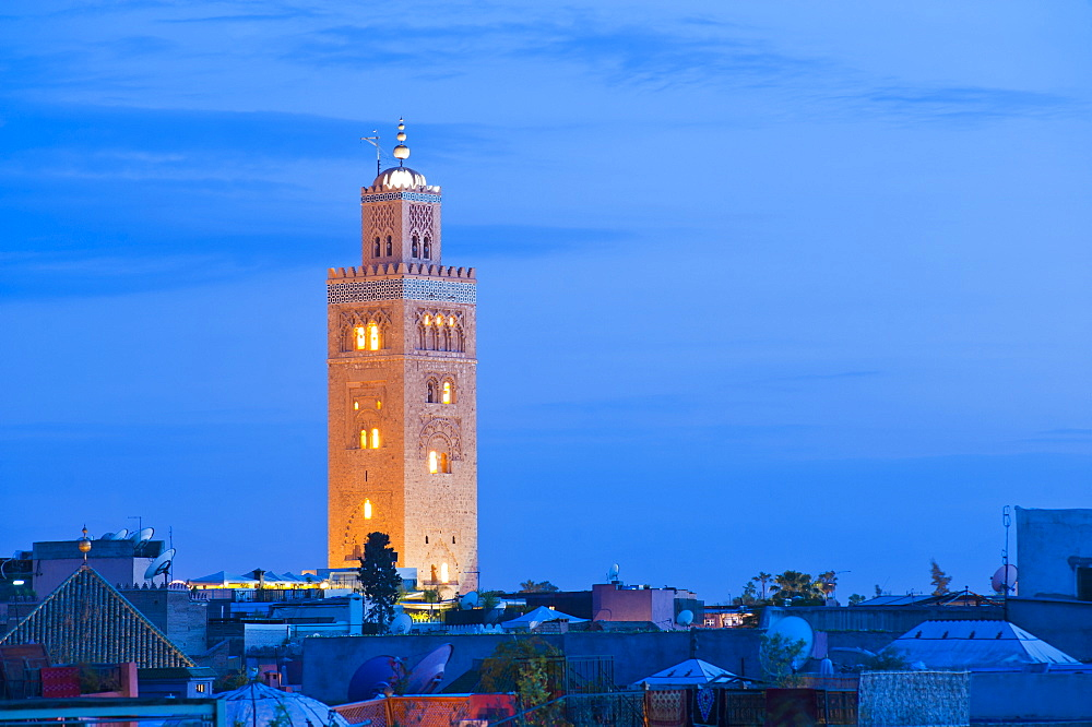 Koutoubia Mosque minaret at night, Marrakech, Morocco, North Africa, Africa