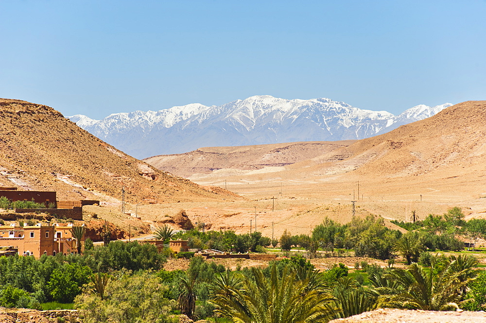 Snow capped High Atlas Mountains from Kasbah Ait Ben Haddou, near Ouarzazate, Morocco, North Africa, Africa