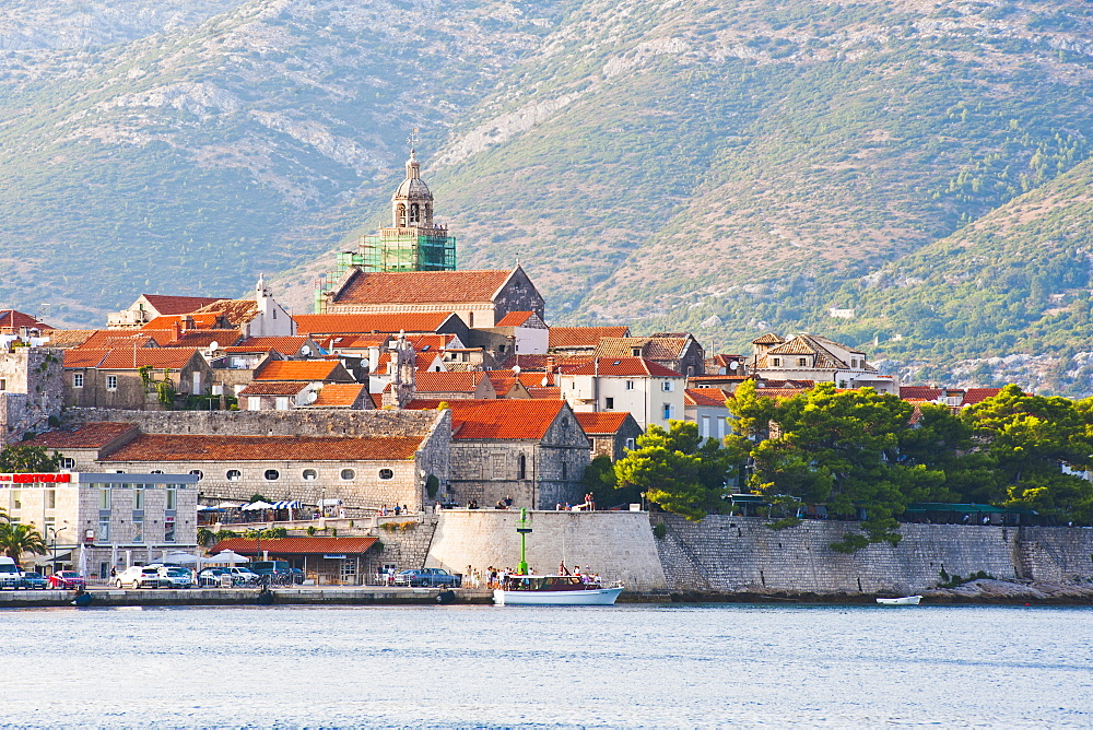 Korcula Town and St. Marks Cathedral, Korcula Island, Dalmatian Coast, Adriatic, Croatia, Europe