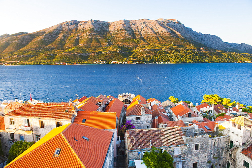 Korcula Town at sunset, elevated view from St. Marks Cathedral bell tower, Korcula Island, Dalmatian Coast, Adriatic, Croatia, Europe