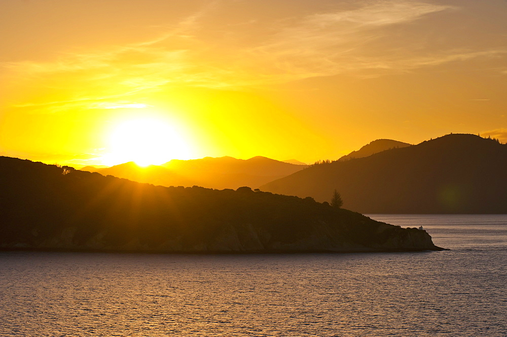 Queen Charlotte Sound at sunset, Picton, Marlborough Region, South Island, New Zealand, Pacific