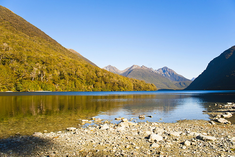 Lake Gunn mountain reflections, Fiordland National Park, UNESCO World Heritage Site, South Island, New Zealand, Pacific