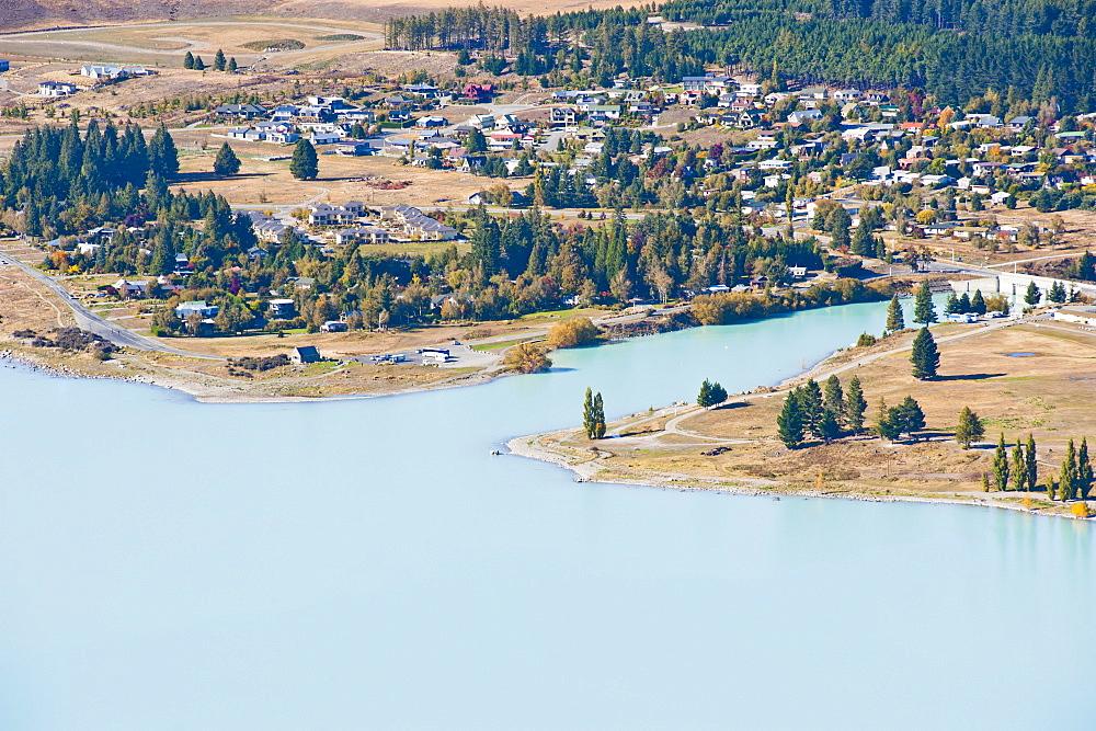 Lake Tekapo town taken from Mount John Observatory, Canterbury Region, South Island, New Zealand, Pacific