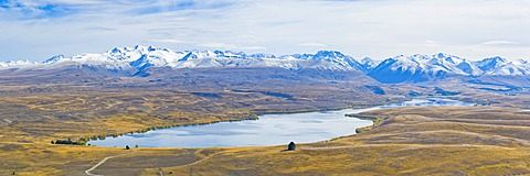 Lake Alexandrina and snow capped mountains, Canterbury Region, South Island, New Zealand, Pacific