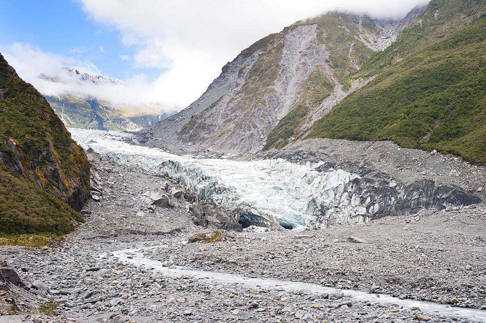 Glacier melt water river, Fox Glacier, Westland National Park, UNESCO World Heritage Site, South Island, New Zealand, Pacific
