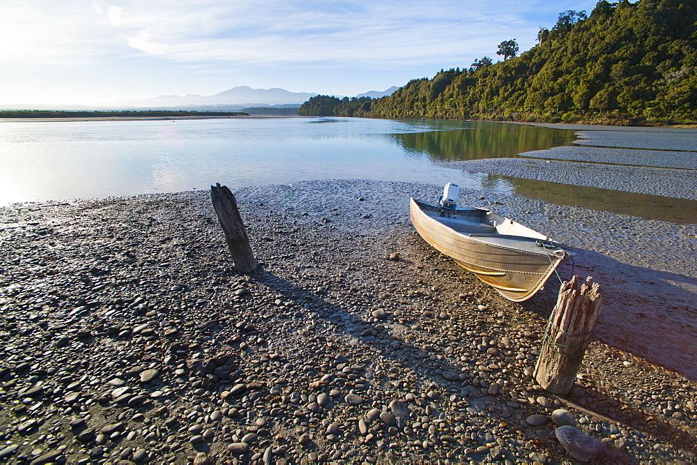 Motor boat, Okarito Lagoon, West Coast, South Island, New Zealand, Pacific