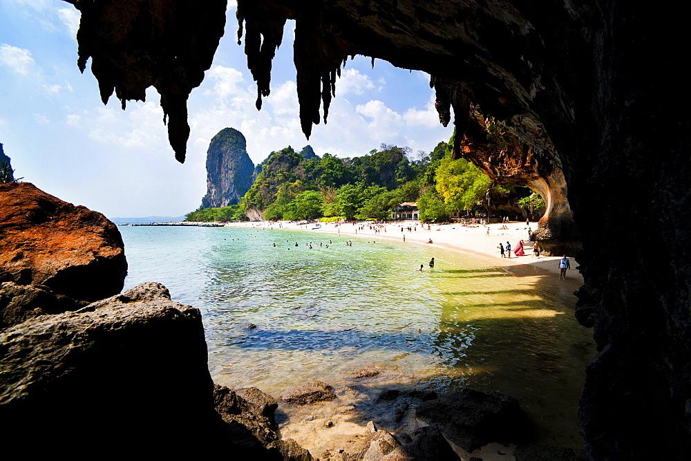 Limestone karst rocks at Phra Nang Beach, South Islands, Thailand, Southeast Asia, Asia