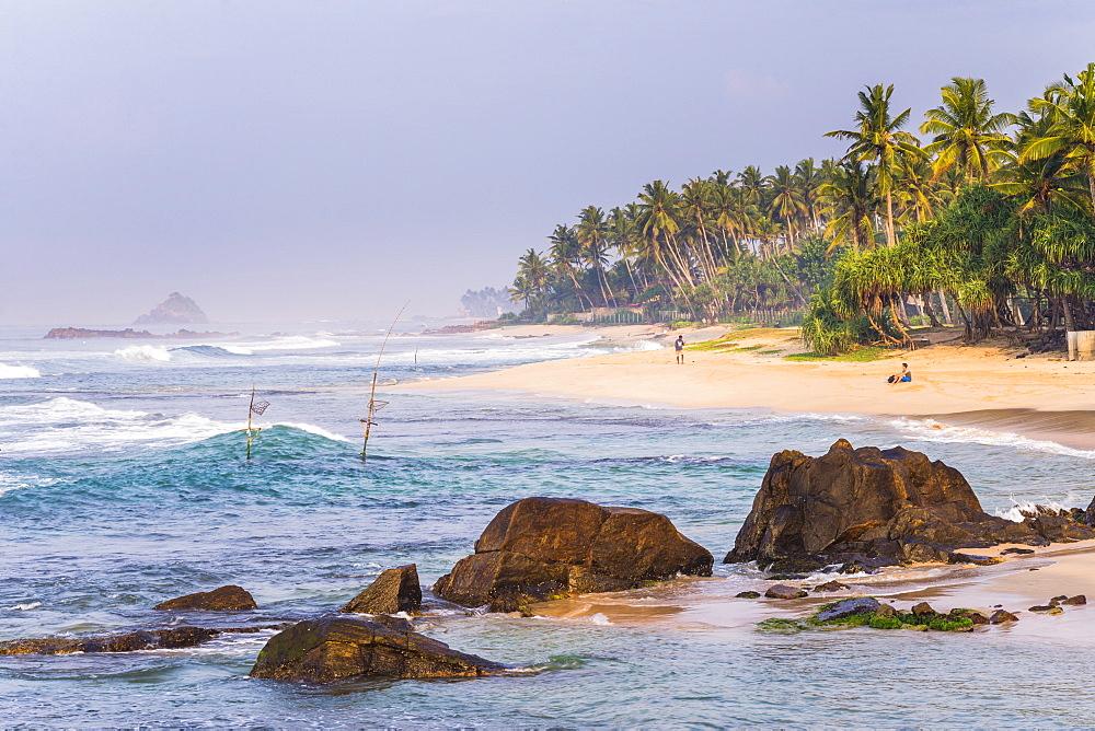Tropical Midigama Beach, near Weligama on the South Coast of Sri Lanka, Indian Ocean, Asia