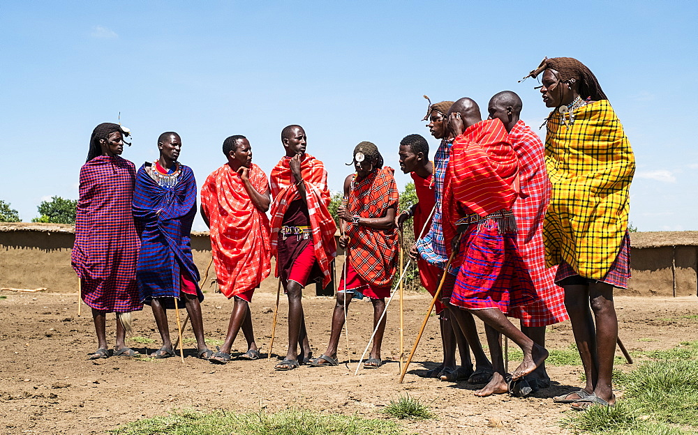 Masai Mara members sing tribal songs to greet guests to their village, Masai Mara National Reserve, Kenya, East Africa, Africa - 1111-10