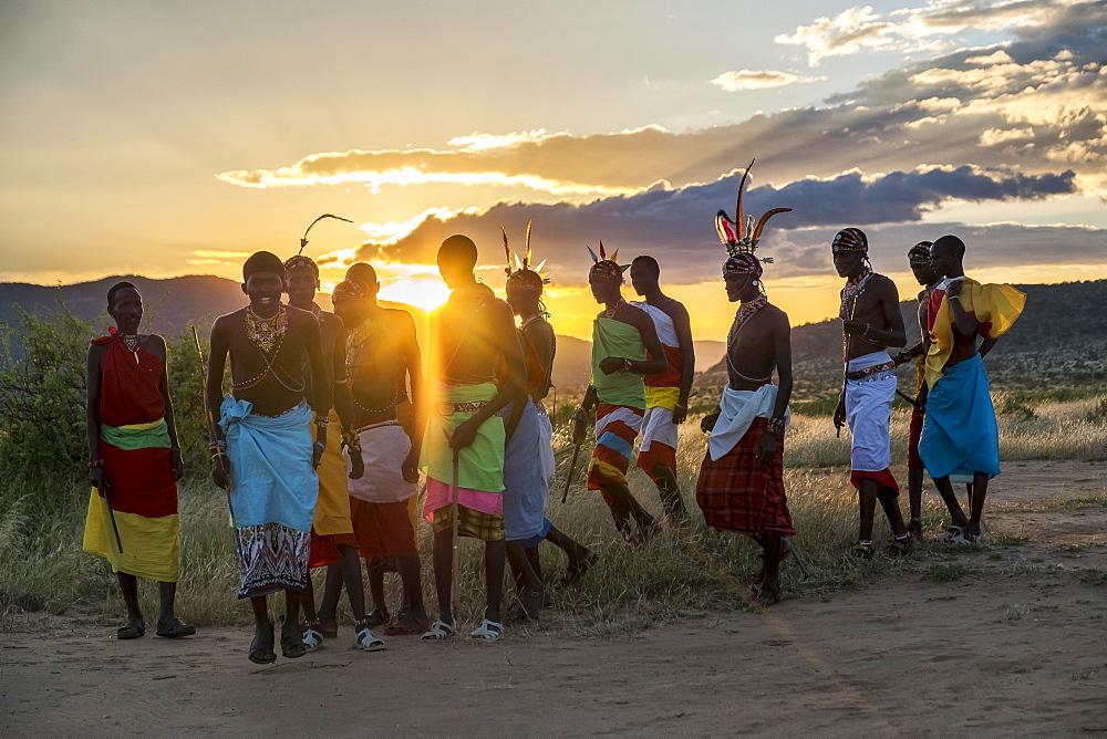 Portrait of Samburu tribe members dancing the traditional wedding dance at dusk, Kenya, East Africa, Africa