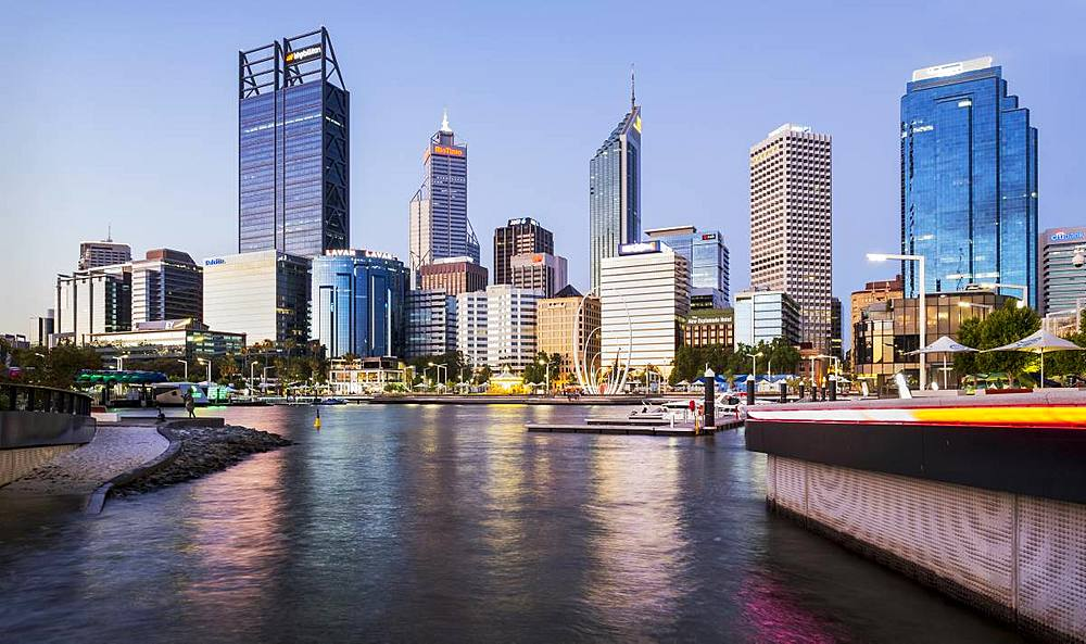 Perth skyline from Elizabeth Quay, looking over Swan River, Perth, Western Australia.