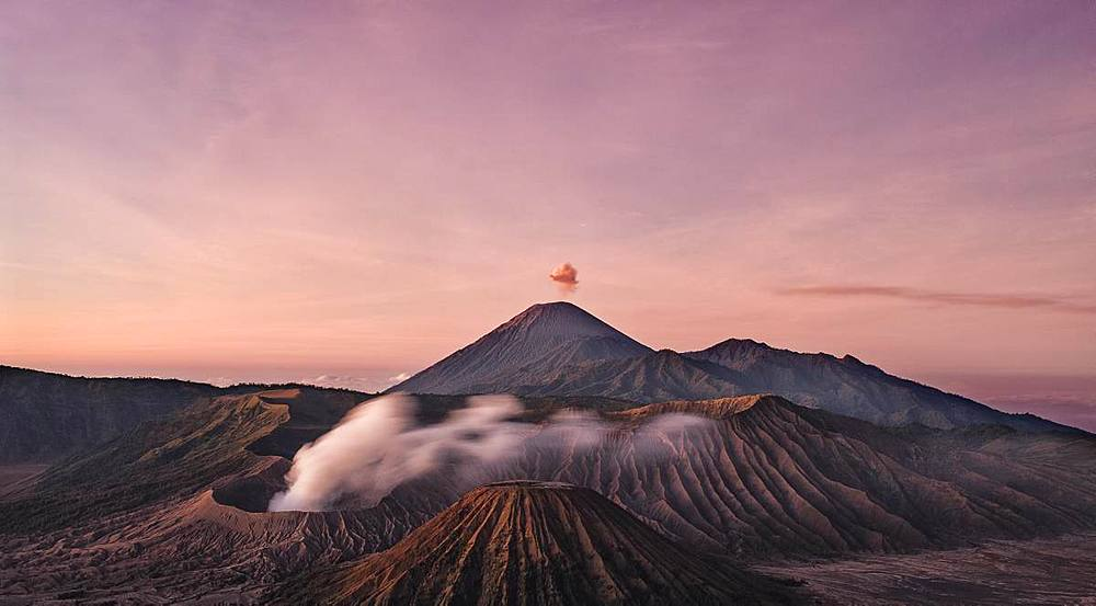 Landscape of sunrise at Mount Bromo, East Java, Indonesia, Southeast Asia, Asia