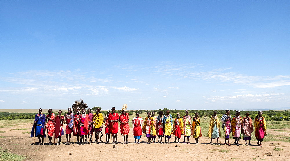 Masai Mara members sing tribal songs to greet guests to their village, Masai Mara National Reserve, Kenya, East Africa, Africa - 1111-7