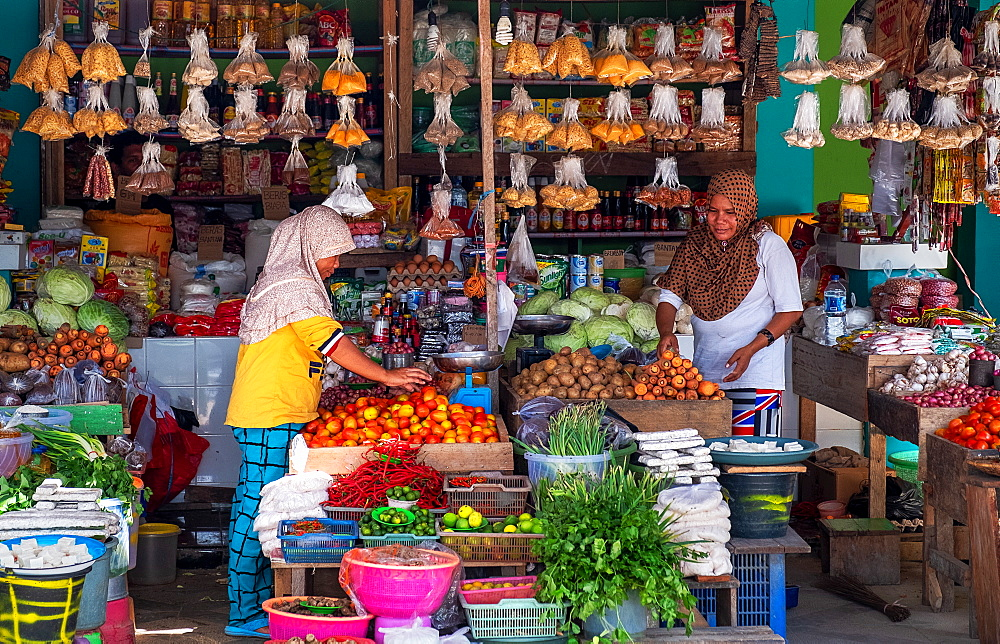 Fresh food market stall selling fruit and vegetables, Togian Islands, Indonesia.