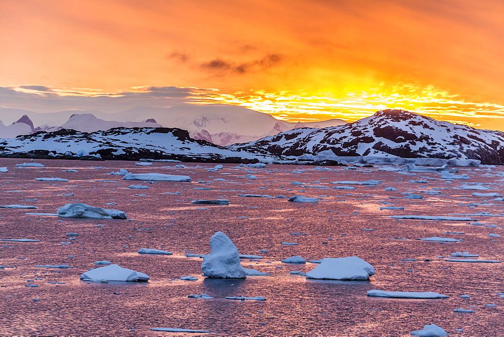 Sunset over ice floes and icebergs, near Pleneau Island, Antarctica, Southern Ocean, Polar Regions - 1112-1069