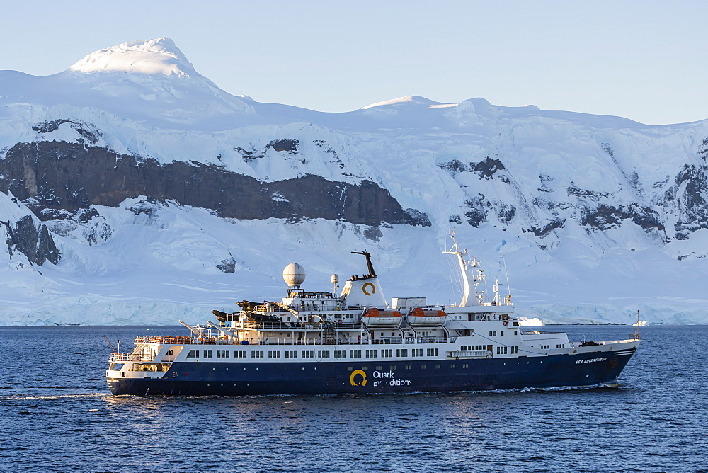The Quark Expeditions ship Sea Adventurer operating in the Gerlache Strait, Antarctica, Southern Ocean, Polar Regions