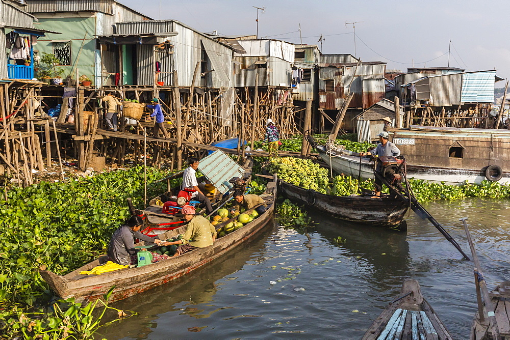 Fresh produce coming to market at Chau Doc, Mekong River Delta, Vietnam, Indochina, Southeast Asia, Asia