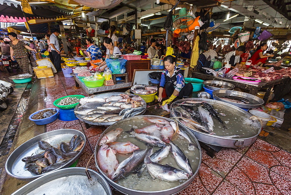 Fresh seafood for sale at market at Chau Doc, Mekong River Delta, Vietnam, Indochina, Southeast Asia, Asia