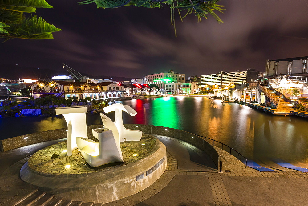 The capital city of Wellington, harbour at night, North Island, New Zealand, Pacific