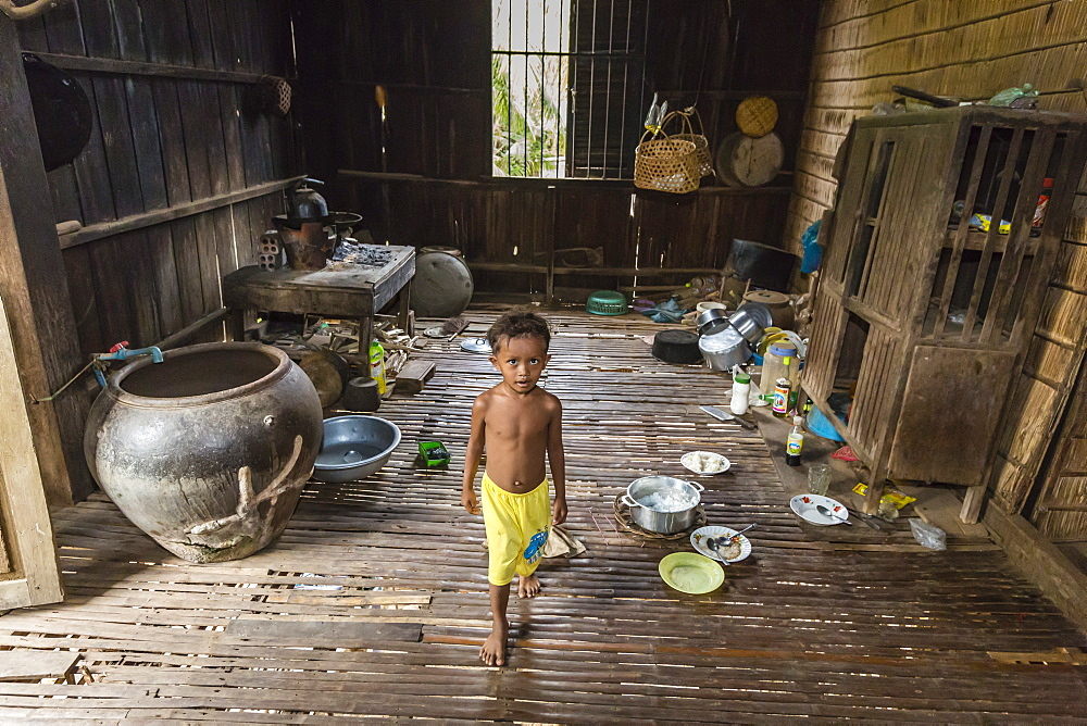Inside a house in the village of Angkor Ban, on the banks of the Mekong River, Battambang Province, Cambodia, Indochina, Southeast Asia, Asia