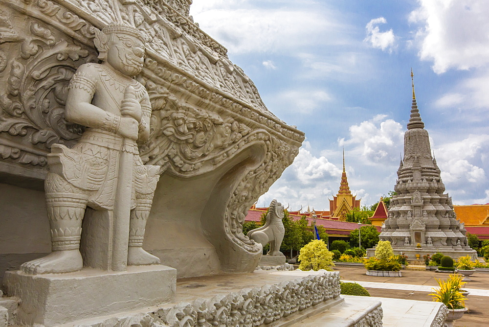 Stupas in front of the Silver Pagoda in the Royal Palace, in the capital city of Phnom Penh, Cambodia, Indochina, Southeast Asia, Asia