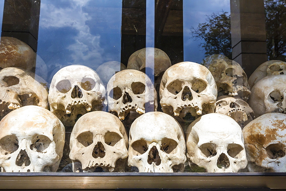 Human skulls on display in a Monument at the Killing Fields of Choueng Ek, victims under the Khmer Rouge, Phnom Penh, Cambodia, Indochina, Southeast Asia, Asia