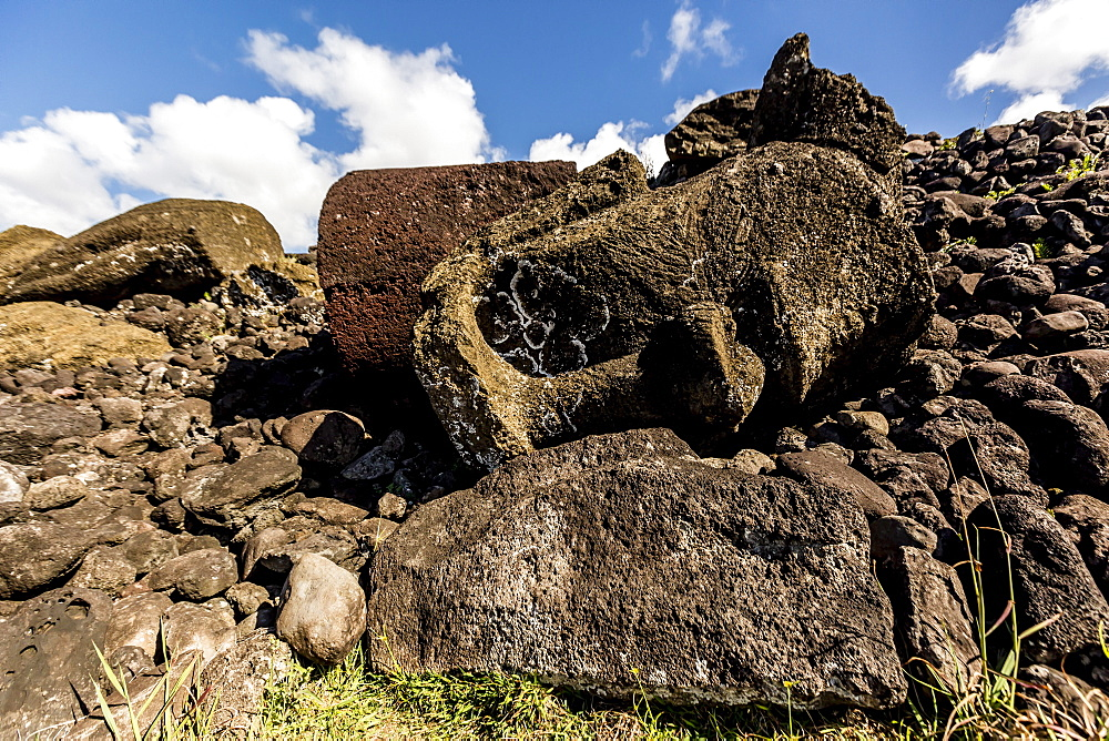 Fallen moai head and red scoria topknot at Ahu Akahanga on Easter Island (Isla de Pascua) (Rapa Nui), UNESCO World Heritage Site, Chile, South America