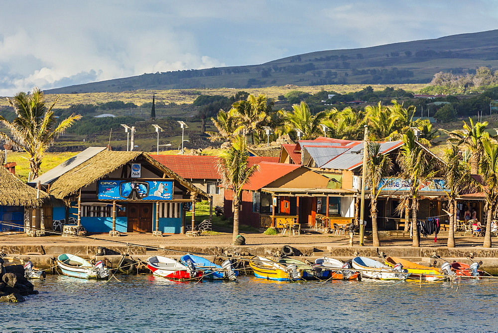 The harbor at Hanga Roa on Easter Island (Isla de Pascua) (Rapa Nui), Chile, South America