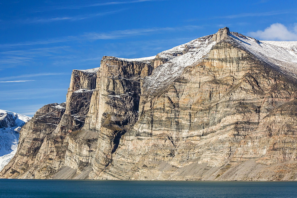 Snow-capped mountains and steep cliffs of Icy Arm, Baffin Island, Nunavut, Canada, North America
