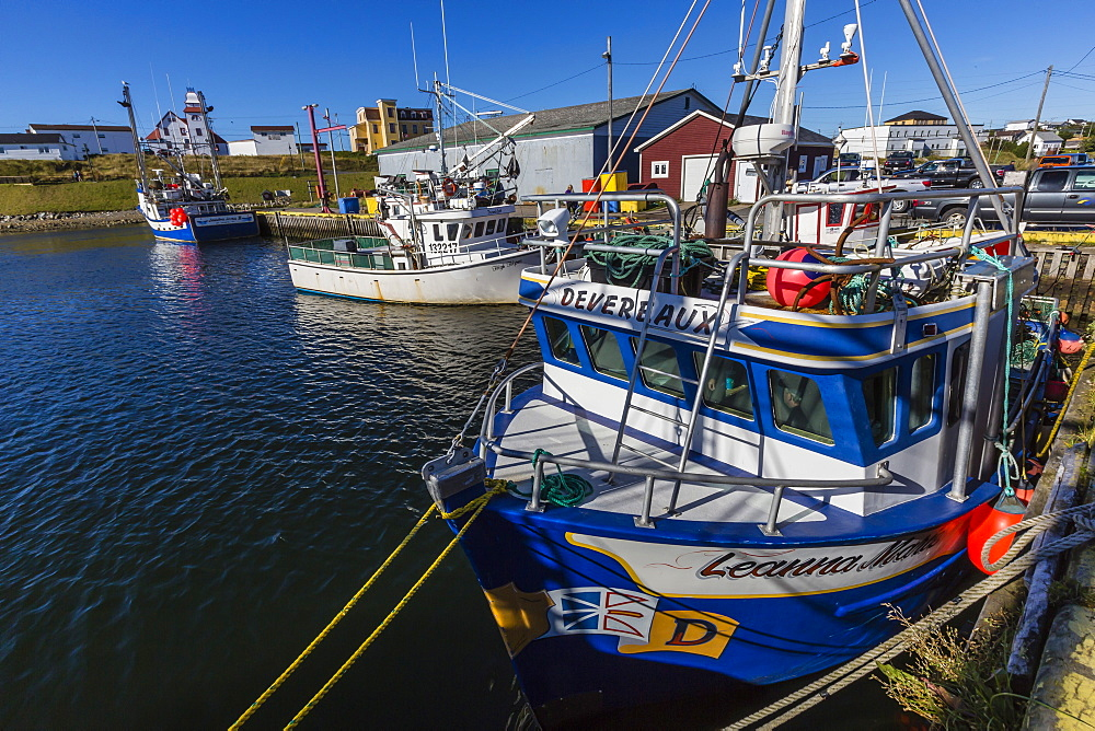 Fishing vessels inside the harbor at Bonavista, Newfoundland, Canada, North America