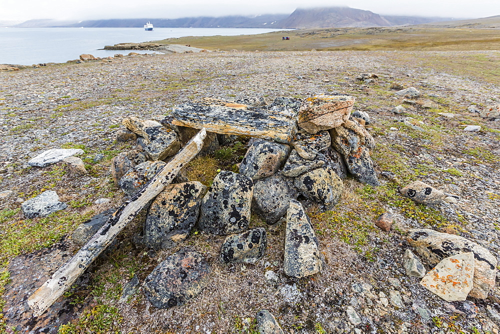 Thule house remains in Dundas Harbour, Devon Island, Nunavut, Canada, North America
