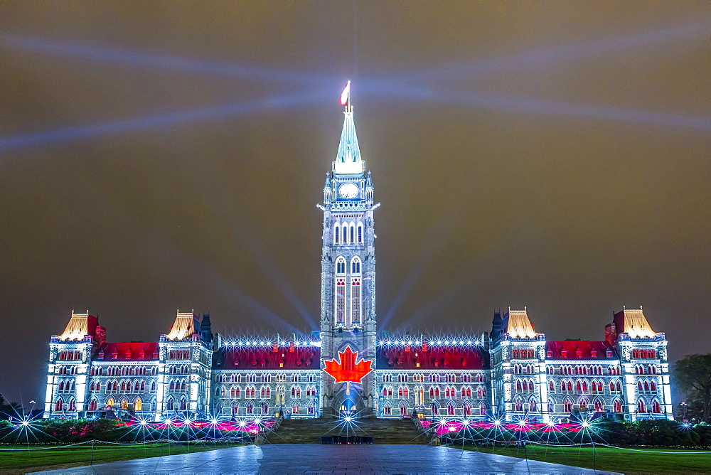 Parliament Hill sound and light show Mosaika, projected onto the capital Parliament Building, Ottawa, Ontario, Canada, North America
