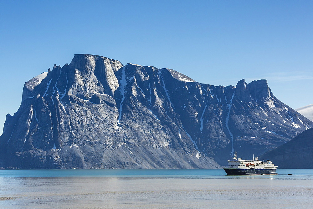 The Lindblad Expeditions ship National Geographic Explorer in Icy Arm, Baffin Island, Nunavut, Canada, North America