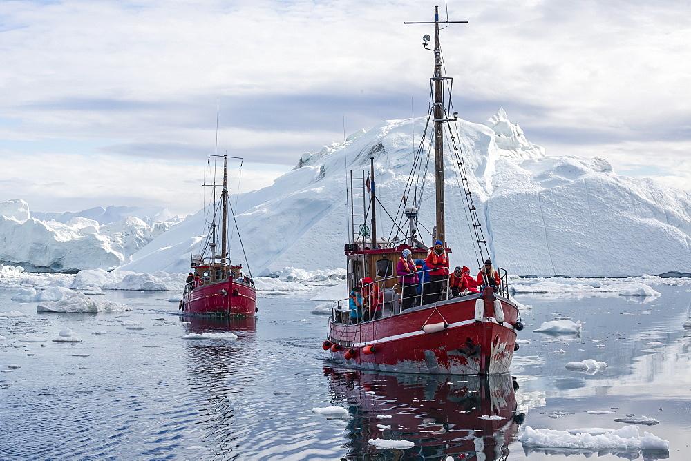 Commercial iceberg tours amongst huge icebergs calved from the Ilulissat Glacier, UNESCO World Heritage Site, Ilulissat, Greenland, Polar Regions