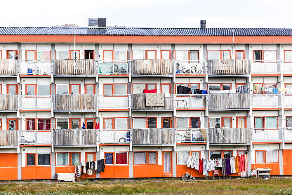 Government built housing for native people in Sisimiut, Greenland, Polar Regions