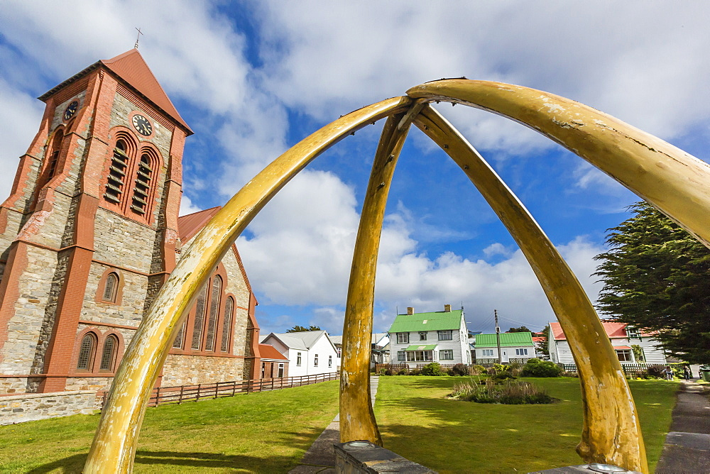 Blue whale lower jawbones form an arch in front of the Anglican Church, Stanley, Falklands, UK Overseas Protectorate, South America