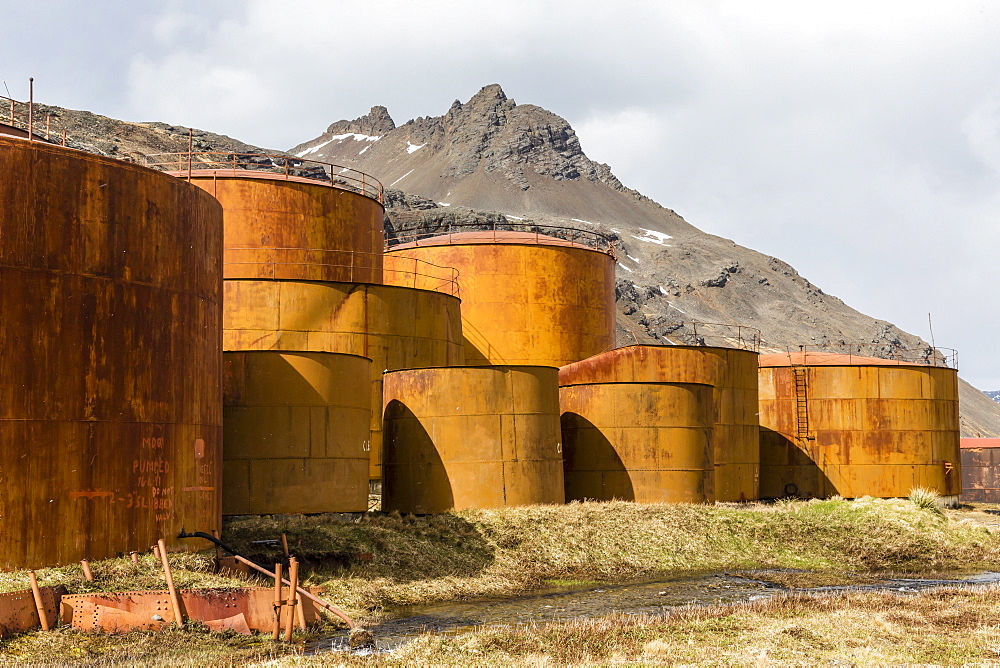 The oil storage tanks at the abandoned and recently restored whaling station at Grytviken, South Georgia, UK Overseas Protectorate, Polar Regions