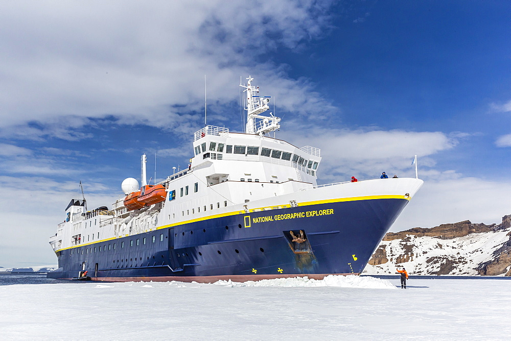 The Lindblad Expeditions ship National Geographic Explorer wedged into fast ice, Duse Bay, Weddell Sea, Antarctica, Polar Regions
