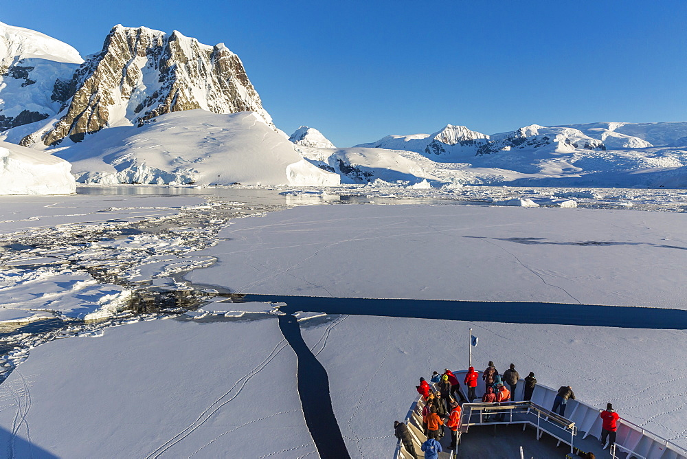 The Lindblad Expeditions ship National Geographic Explorer in the Lemaire Channel, Antarctica, Polar Regions