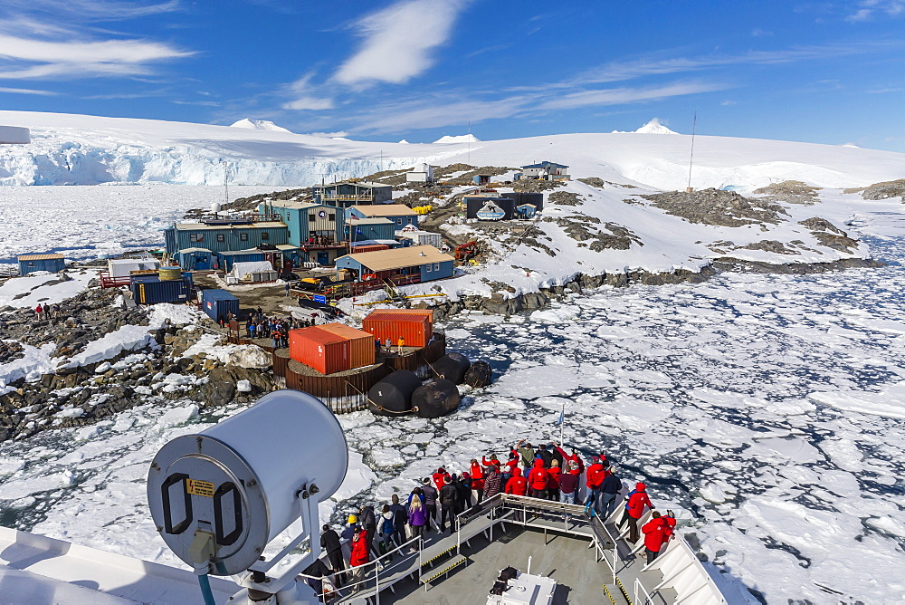 The Lindblad Expeditions ship National Geographic Explorer on approach to the United States Research Station at Palmer Base, Antarctica, Polar Regions