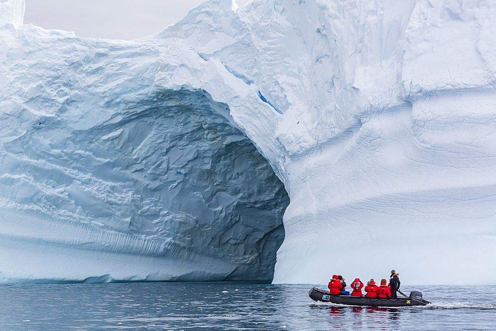 Lindblad guests from the National Geographic Explorer on a Zodiac cruise in Cierva Cove, Antarctica, Polar Regions