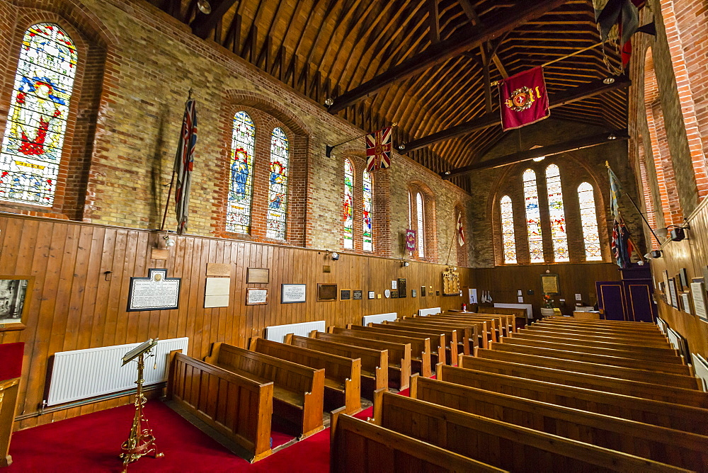 Interior view of the Anglican Church in Stanley, Falkland Islands, UK Overseas Protectorate, South America